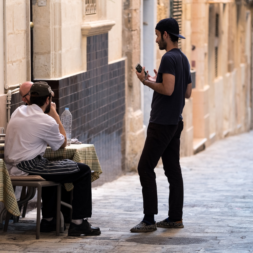 Chatting in Valletta